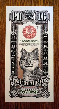 """Phish POSTER+NUTBAG 2016+Summer+Tour+Print -+12""""+x+24""""+lithograph+print -+100lb+natural+cream+stock -+hand-numbered+and+signed -+edition+series+200 -+free+shipping -+includes+all+the+summer+2016+dates+and+fully+inspired+from+the+classic+Phish+rarity!"""