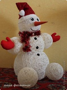 Мк снеговик из ниток своими руками