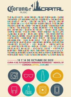Cartel oficial del Corona Capital 2012, difundido por The Drums | En el Show
