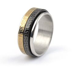 Double Rotatable Black and Gold Stainless Ring