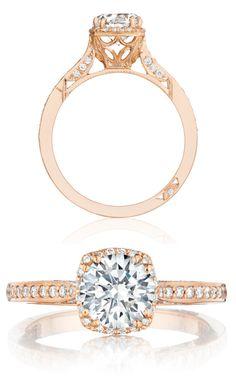 Capri Jewelers Arizona ~ www.caprijewelersaz.com Rose gold and diamond Dantela engagement ring (#2620RDSMPPK) from Tacori's new Pretty in Pink collection.