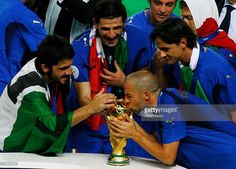 Alessandro Del Piero of Italy kisses the World Cup trophy following his team's victory in a penalty shootout at the end of the FIFA World Cup Germany 2006 Final match between Italy and France at the Olympic Stadium on July 9, 2006 in Berlin, Germany.