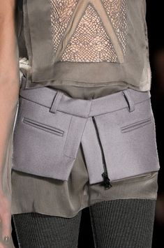 Deconstructed tailoring over delicate layers; close up fashion details // Vera Wang Fall 2012