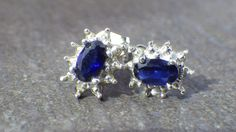 Oval Blue Sapphire Earrings White Gold Elegant by My3LadiesJewelry, $94.99