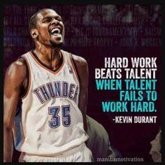 Hard work beats talent, when talent fails to work hard. - Kevin Durant