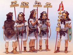 Standard Bearers of the four Urban Legions and Standard Bearer of a maniple of hastati - art by Angus McBride Roman History, Art History, Military Art, Military History, Ancient Rome, Ancient History, Imperial Legion, Old Warrior, Romulus And Remus