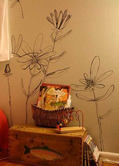 Sharpie wall mural of flowers Flower Mural, Flower Wall, Wall Flowers, Tree Line Drawing, Sharpie Wall, Wal Art, Pics Art, Bedroom Wall, Wall Design
