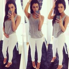 Tank and white skinnies