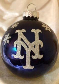 Blue glass NY Giants 2016 Christmas Ornament by TmangsTreasures