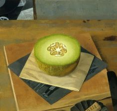 """Not """"Revelation""""—'tis—that waits, But our unfurnished eyes—  --Emily Dickinson Melon with Two Xeroxes, Cork and Knife 1999 oil on lin"""