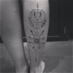 Jonah Ellis at Graceland Brooklyn.  Sacred Geometry, crescent moon, arrow tattoo.