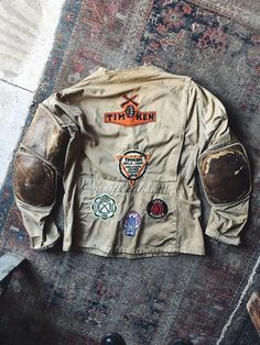 Unusual vintage shooting jacket modified with pads, patches, and pocket zipper. May have been originally been used in the military as a sniper jacket. Denim Art, Fashion Gallery, Summer Looks, Cotton Canvas, Work Wear, Military Jacket, What To Wear, Military Clothing, Biker Jackets