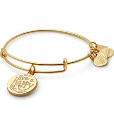 """Live a Happy Life"" Alex & Ani charity bangle supporting the Joe Andruzzi Foundation."