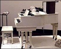 Marilyn Monroe's white, baby grand piano. Bought by her mother Gladys before she was institutionalized, it took Marilyn years to relocate the piano, but she successfully did so. It remained with Marilyn through various apartment/house moves, until the end of her life. As part of the Strasberg inheritance, the piano was sold at the Christies auction in 1999.
