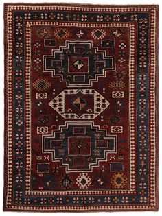 Kazak Rug - early to mid-20th century, three geometric medallions on brick red ground, hooks and guls with yellow, turquoise, and blue highlights, 5 ft. 10 in x 7 ft. 8 in.