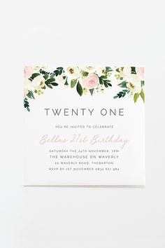 PRINTABLE Birthday Invitation / Chic Pink & White Party / Floral Twenty First Invitation / Available on Etsy / By Rachel Vanderzon invitations Garden Party Invitations, 21st Birthday Invitations, Diy Invitations, Floral Invitation, Invitation Design, Birthday Banners, 18 Birthday, 90th Birthday Parties, Etsy