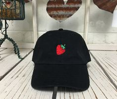 Retro STRAWBERRY Baseball Cap Low Profile Dad by TheHatConnection