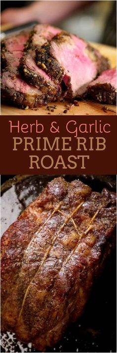 Our recipe for perfect prime rib roast is mouthwateringly juicy unbelievably tender and extremely flavorful with a crackling herb and garlic crust. We have a foolproof prime rib rub recipe with fresh rosemary and thyme and well show you how to sear t Rub Recipes, Meat Recipes, Dinner Recipes, Cooking Recipes, Cooking Ideas, Paleo Dinner, Cooking Websites, Recipies, Roast Beef Recipes