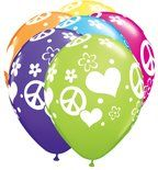 Peace Sign Love Latex Balloons Qualatex 11 Inch (100) hippie party decorations by QUALATEX. $29.95. can be inflated with air or helium. ASSORTED COLORS. 100- 11 INCH LATEX BALLOONS. great for the hippie or love party. FEATURES HEARTS AND PEACE SIGNS. 11 inch latex balloons (100)