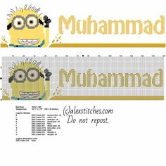 Cross stitch male name Muhammad with Despicable Me funny Minion character