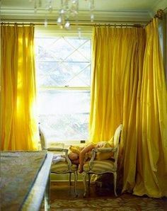 Flowing yellow curtains paul costello, curtains, window, color, hous, hello yellow, yellow curtain, decor idea, room