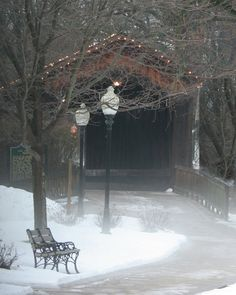 Covered Bridge with bench and lamp post