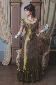 A olive green XIX century dress for a graceful lady. designed by  Ready to shipment  Edwardian Costumes, Victorian Costume, Steampunk Costume, Steampunk Fashion, Vintage Gowns, Vintage Style Dresses, Vintage Outfits, 1800s Fashion, Victorian Fashion