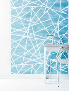 Blue Geometric print from the 'Light of Heart' Wallpaper Collection by Real Living's style editor Sarah Ellison. Photo - Maree Homer.