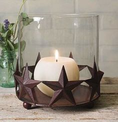 Barn Star Pillar Holder With Glass Chimney - Rustic Brown tall. x glass chimney. Shown with a candle; candle is not included. Rustic Western Decor, Diy Rustic Decor, Rustic Barn, Rustic Design, Farmhouse Decor, Candle Lanterns, Pillar Candles, Star Candle, Rustic Restaurant
