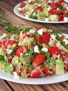 Strawberry Avocado Quinoa Salad With a Honey And Lime Dressing | YummyAddiction.com