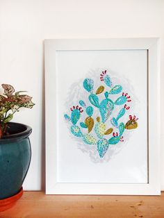Prickly Pear A4 Wall Art Print - Painted Cactus Plant Illustration