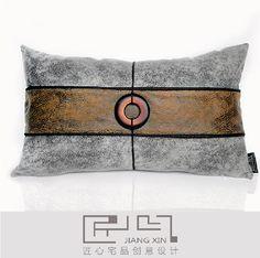 匠心宅品 现代/中式抱板房/软装靠包抱枕 皮革圆扣腰枕(不含枕芯