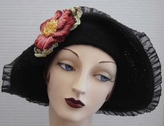 Hey, I found this really awesome Etsy listing at https://www.etsy.com/listing/183127101/black-cotton-crochet-flapper-style-hat