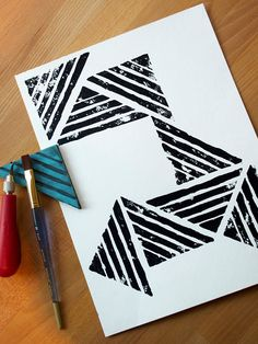 Make your own geometric stamp and create art in any size! This project is great for beginning print makers. Make your own geometric stamp and create art in any size! This project is great for beginning print makers. Diy Stamps, Handmade Stamps, Stamp Printing, Screen Printing, Printing On Fabric, Stamp Carving, Fabric Stamping, Ideias Diy, Affordable Art