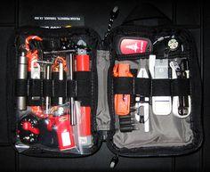 Right side: -Leatherman micra -Ironkey USB (admin) -BÖKER+ Vox access tool titanium -Derma-Safe utility saw -9 bits + wrench Up: -Medical dog tag (info) -Signal mirror dog tag -Silva GITD small compass  Inside:  -Meds & bandages in Aloksak  Left side: -12H green cyalume + cover -Foursevens titanium pen (fisher refill) -Mini magnesium rod -NanoStriker -Klarus MIX6 Ti + TEC Isotope (tritium) + TEC clip -Sliver Gripper titanium tweezers -FQ-FOB 6ft paracord -Titanium capsule (cafein pills + Ti…