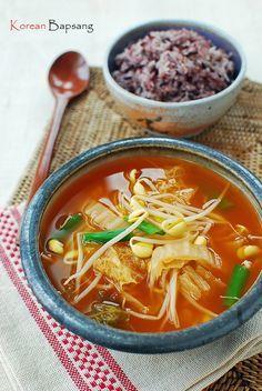 Kimchi Kongnamul Guk (Soybean Sprout Soup with Kimchi) - Korean Bapsang