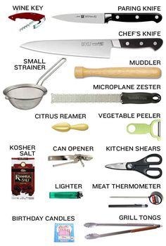 Cooking tools needed for when you rent a vacation house.