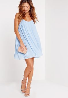 Missguided - Strappy Pleated Swing Dress Blue