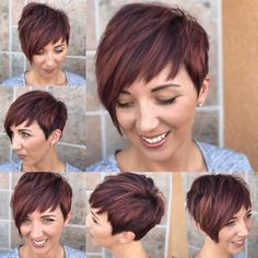 Get this Hairstyle: - Shaggy Asymmetrical Pixie with Asymmetrical Bangs on Highlighted Burgundy Hair