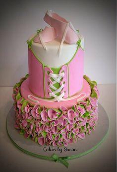 Ballerina Cake with multi-coloured ruffles Pretty Cakes, Cute Cakes, Beautiful Cakes, Amazing Cakes, Take The Cake, Love Cake, Fondant Cakes, Cupcake Cakes, Ballerina Cookies
