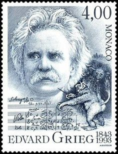 Postage Stamp from Monaco - 1993 Edvard Grieg, Composer. Postage Stamp Art, Art Graphique, Stamp Collecting, Mail Art, My Stamp, Monaco, Literature, Pin Up, Classical Music