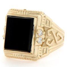 14k Solid Gold 12 X 10mm Rectangular Onyx CZ Mens Ring - List price: $1,100.00 Price: $249.99 Saving: $850.01 (77%)