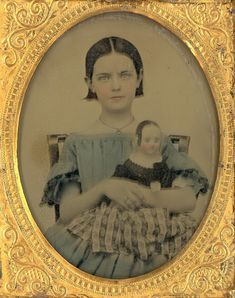 "1857 Ambrotype of ""Girl Holding Her Izannah Walker Doll"""