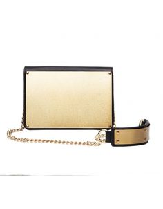 Black Leather Le Barcelona Clutch by Dareen Hakim