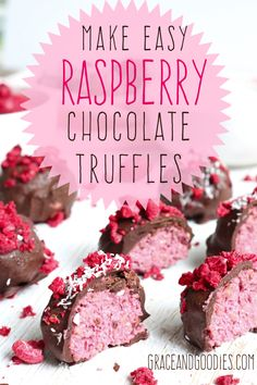 Want to make a gorgeous, healthy and absolutely delicious treat for a loved one or just yourself? Try my easy raspberry chocolate truffles recipe from Grace and Goodies. easy 3 ingredients easy for a crowd easy healthy easy party easy quick easy simple Raspberry Chocolate Truffle Recipe, Chocolate Recipes, Easy Truffle Recipe, Delicious Chocolate, Köstliche Desserts, Delicious Desserts, Dessert Recipes, Easy Raspberry Desserts, Valentine Desserts