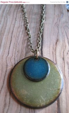 Mothers Day SALE Enamel necklace Blue and Green by Steinvika, $40.50