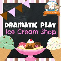 Ice cream theme dramatic play center for your preschool, pre-k, or kindergarten classroom. Printable props to help you easily transform your kitchen or home living dramatic play center into an ice cream shop by adding a few simple play props! Dramatic Play Themes, Dramatic Play Area, Dramatic Play Centers, Play Ice Cream, Ice Cream Theme, Preschool Centers, Abc Preschool, Preschool Printables, Preschool Ideas