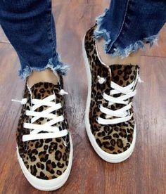 db0dca591859 Ladies Leopard Print Comfy Canvas sneakers