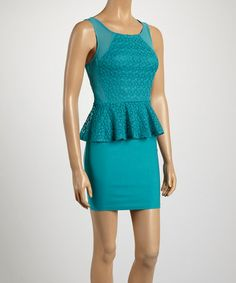 Look what I found on #zulily! Teal Lace Peplum Dress by Love Point #zulilyfinds