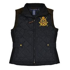 Polo Ralph Lauren Womens Quilted Crest VestBlackXS * Click on the image for additional details.